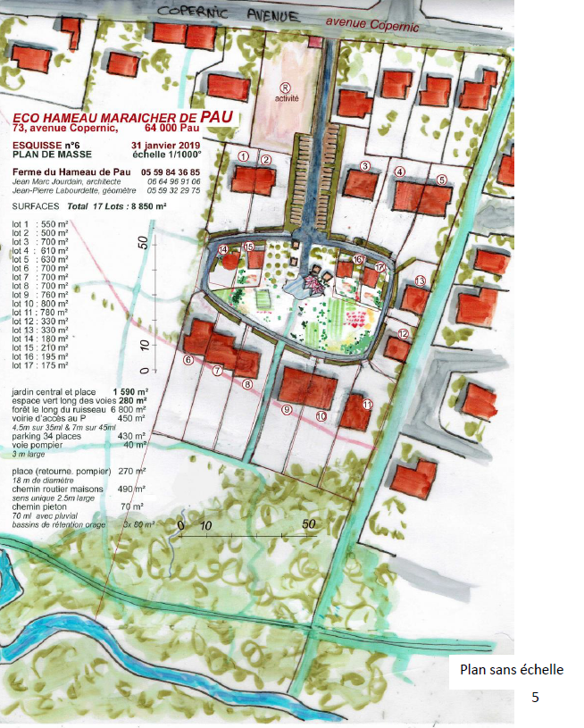 Lotissement Ecologique « HABITAT ECOPERNIC » à Pau - plan du projet